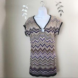 Cache Stretch Knit Top Size XS Striped Multicolor